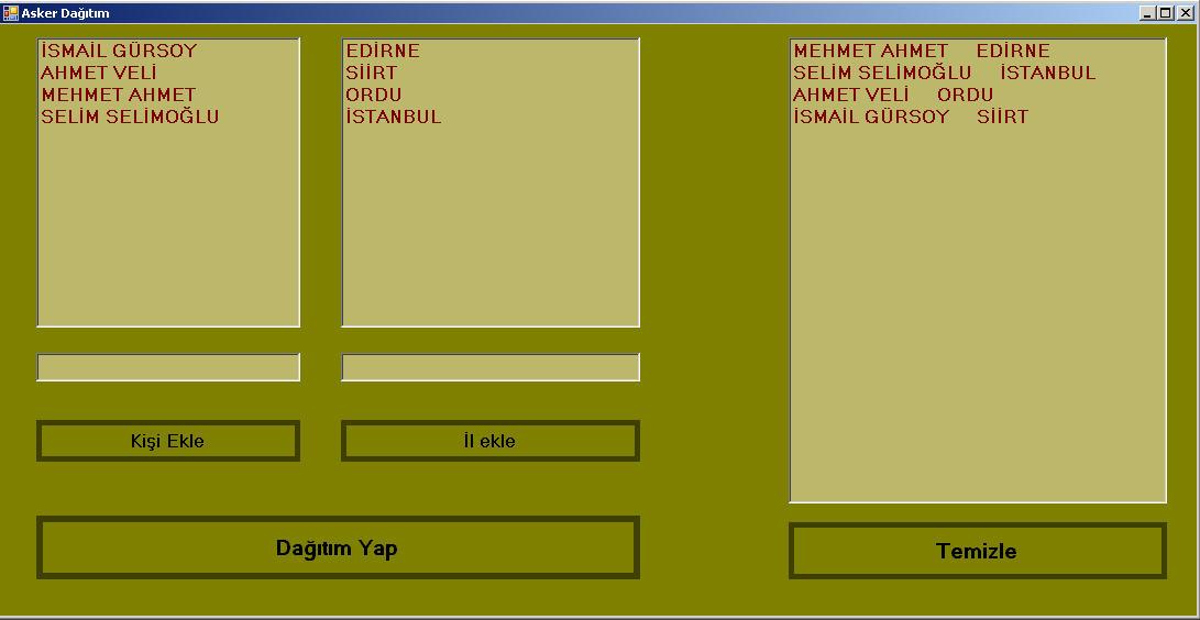 C# Bilge Adam Introduction Proje Ödevleri – Asker Dağıtım Programı