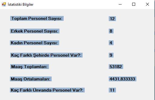 Personel Kayıt Uygulaması Bölüm 6 İstatistik ve Grafik Bölümü