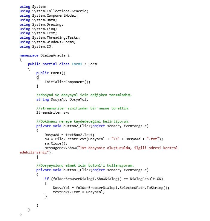 FolderBrowserDialog Kullanımı ve TXT Metin Belgesi Oluşturma