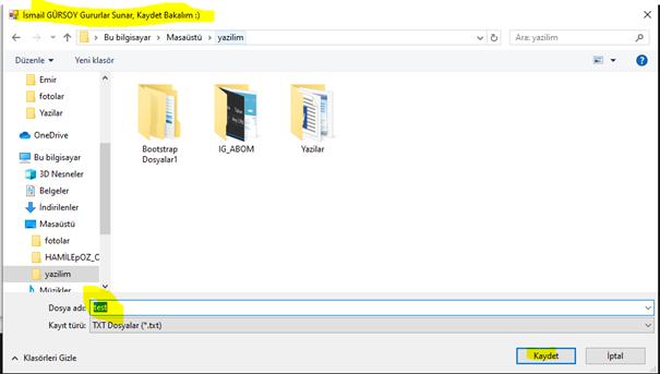 SaveFileDialog Kullanımı ve TXT Dokümanına Veri Kaydetme